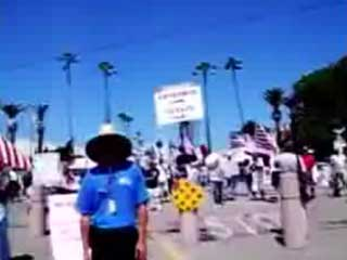 This is a video outside of the San Diego County Fair during a protest of the Fair's policy to fly the Mexican Flag.